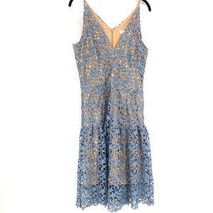 Dress The Population Blue Lace Midi Dress